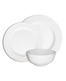 Solid Swiss Dots White 12 Piece Melamine Dinnerware Set