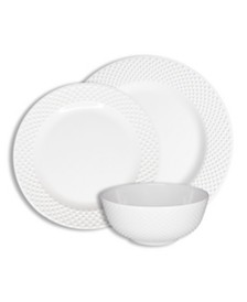 222 Fifth Solid Swiss Dots White 12 Piece Melamine Dinnerware Set