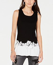 INC Petite Layered-Look Lace-Trim Top, Created for Macy's