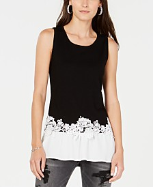 I.N.C. Lace-Trim Peplum Tank Top, Created for Macy's