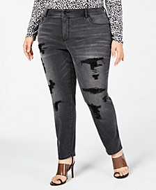 INC Plus Size Distressed Embellished Skinny Jeans, Created for Macy's