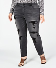 I.N.C. Plus Size Distressed Embellished Skinny Jeans, Created for Macy's