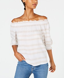 I.N.C. Novelty Stripe Off-The-Shoulder Top, Created for Macy's