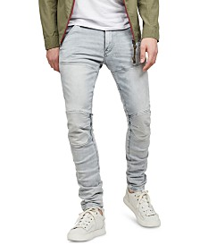 G-Star RAW Men's 5620 3D Gray Distressed Skinny Jeans, Created for Macy's
