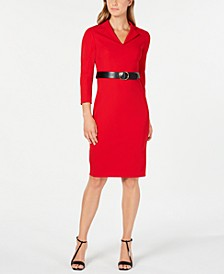Notched-Collar Belted Sheath Dress