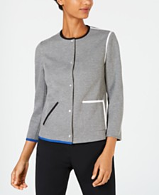 Anne Klein Piped Snap-Front Jacket