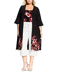 Trendy Plus Size Printed Kimono