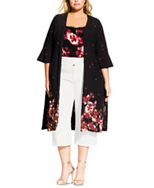 City Chic Trendy Plus Size Printed Kimono