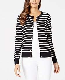 Striped Grommet-Trim Cardigan Sweater, Created for Macy's