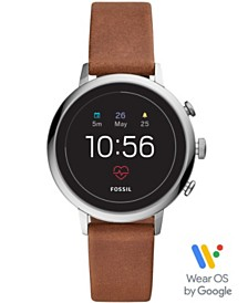 Fossil Women's Tech Venture Gen 4 HR Brown Leather Strap Touchscreen Smart Watch 40mm, Powered by Wear OS by Google™