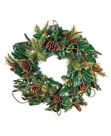 """Village Lighting 30"""" Pre-Lit LED Wreath - Magnolia Leaf"""