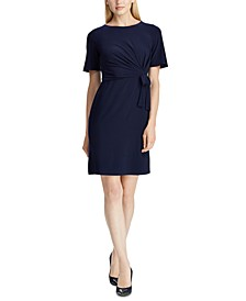 Self-Tie Short-Sleeve Jersey Dress