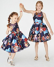 Toddler, Little & Big Girls Floral-Print Illusion Dress