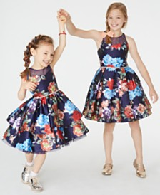 Rare Editions Toddler, Little & Big Girls Floral-Print Illusion Dress