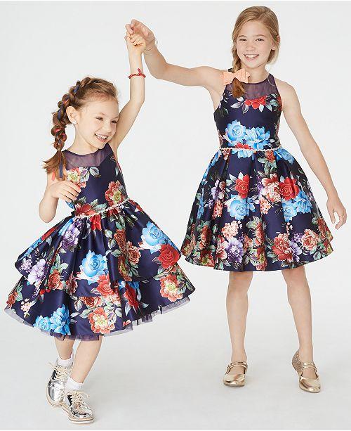 Rare Editions Toddler, Little & Big Girls Floral-Print Illusion Dress
