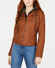 Juniors' Hoodie Faux-Leather Moto Jacket