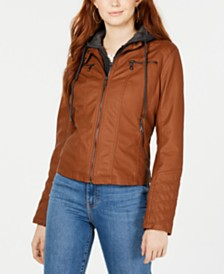 Maralyn & Me Juniors' Hoodie Faux-Leather Moto Jacket