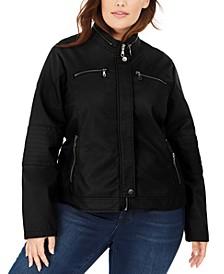 Juniors' Plus Size Faux-Leather Moto Jacket