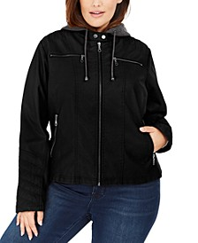 Juniors' Plus Size Hoodie Faux-Leather Moto Jacket