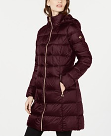 Michael Michael Kors Hooded Long Packable Down Puffer Coat, Created For Macy's