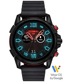 Diesel Men's Full Guard 2.5 Black Silicone Strap Touchscreen Smart Watch 48mm, Powered by Wear OS by Google™