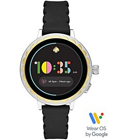 Women's Scallop Black Silicone Strap Touchscreen Smart Watch 41mm, Powered by Wear OS by Google™