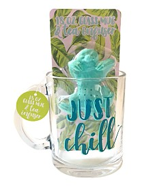 "TMD Holdings ""Just chill"" Sloth Tea Infuser with Glass Mug"