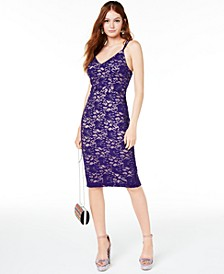 Juniors' Sequined Lace Bodycon Dress