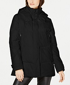 Hooded Double Zipper Puffer Coat