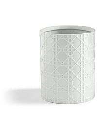 Wicker Embossed Porcelain Waste Basket