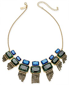 """I.N.C. Gold-Tone Stone & Crystal Fringe Statement Necklace, 17"""" + 3"""" extender, Created for Macy's"""