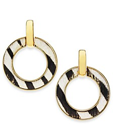 INC Gold-Tone Animal-Print Doorknocker Drop Earrings, Created for Macy's