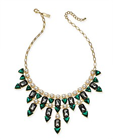 """INC Gold-Tone Stone & Imitation Pearl Statement Necklace, 17"""" + 3"""" extender, Created for Macy's"""