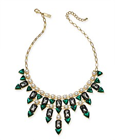 "I.N.C. Gold-Tone Stone & Imitation Pearl Statement Necklace, 17"" + 3"" extender, Created for Macy's"