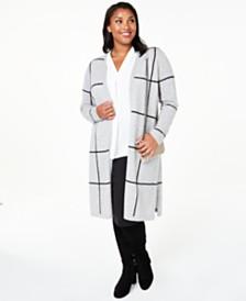 Charter Club Plus Size Cashmere Windowpane Maxi Cardigan, Created for Macy's