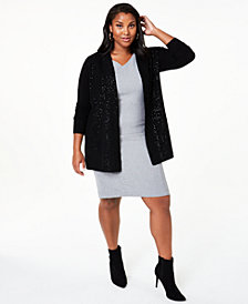 Charter Club Plus Size Cashmere Sequin-Trim Completer Sweater,  Created For Macy's