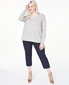 Plus Size Cashmere Double V-Neck Sweater, Created for Macy's