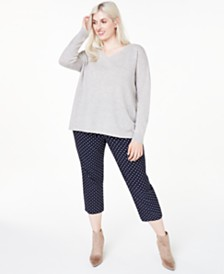 Charter Club Plus Size Cashmere Double V-Neck Sweater, Created for Macy's