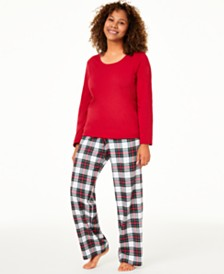 Matching Family Pajamas Women's Mix It Stewart Plaid Pajama Set, Created For Macy's