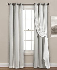 "Solid and Sheer Layered 38"" x 108"" Blackout Curtain Set"