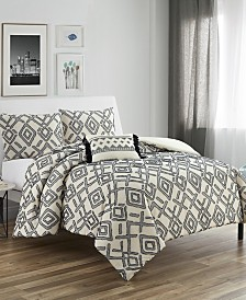 Giovanni Queen 4 Piece Clipped Jacquard Cotton Comforter Set