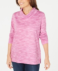 Karen Scott Space-Dyed Cowlneck Top, Created for Macy's