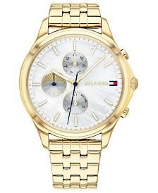 Tommy Hilfiger Women's Gold-Tone Stainless Steel Bracelet Watch 38mm, Created For Macy's