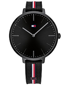 Tommy Hilfiger Women's Black Silicone Strap Watch 38mm, Created For Macy's