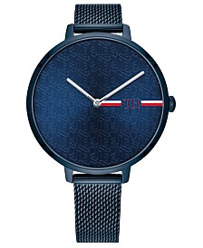 Tommy Hilfiger Women's Blue Stainless Steel Mesh Bracelet Watch 38mm, Created For Macy's