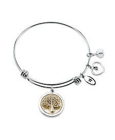 "Unwritten ""Family Forever"" Mother of Pearl Adjustable Bangle Bracelet in Two-Tone Stainless Steel"