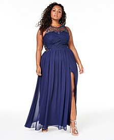 Trendy Plus Size Embellished Illusion Tulip Gown