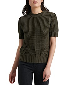 Pleated Short-Sleeve Sweater