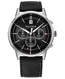 Men's Black Leather Strap Watch 43mm, Created for Macy's