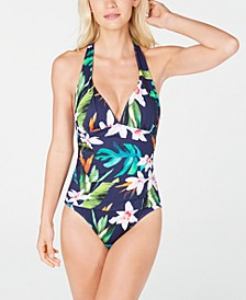 Watercolor Tropical Printed Tummy-Control One-Piece Swimsuit